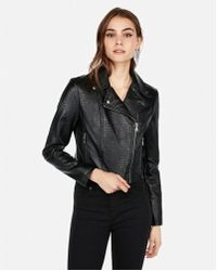 Express - Embossed Cropped Faux Leather Jacket - Lyst