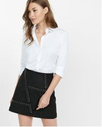 Express - Straight Fit Full Button Essential Shirt - Lyst