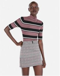 Express - Stripe Ribbed Elbow Sleeve Turtleneck Sweater - Lyst