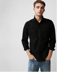 Express - Ig & Tall Slim Herringbone Military Overshirt - Lyst