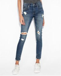 Express - Mid Rise Ripped Stretch+ Ankle Leggings - Lyst
