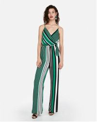 Express - Stripe Solid Surplice Tie Front Wide Leg Jumpsuit - Lyst