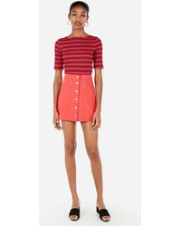 72ddc9e85f Express High Waisted A-line Sailor Mini Skirt in Brown - Lyst
