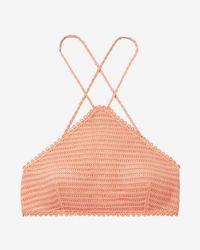 Express - Crochet Y-neck Bikini Swim Top - Lyst