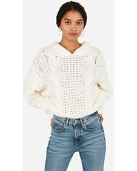 Express Cosy Cable Knit Hooded Jumper White