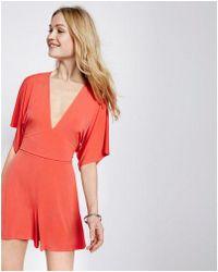 Express - Tie-back Kimono Sleeve V-neck Romper - Lyst