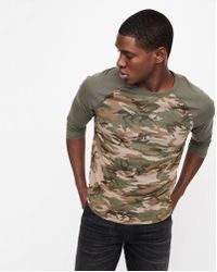 Express - Camo Cotton Crew Neck Baseball Tee - Lyst