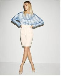 Express - High Waisted Paperbag Pencil Skirt - Lyst