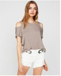 Express - One Eleven Cold Shoulder Cut-out Tee - Lyst