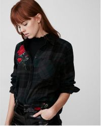Express - Rose Embroidered One Pocket Flannel - Lyst