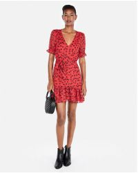 Express - Floral Short Sleeve Ruffle Hem Mini Dress - Lyst