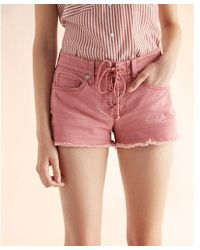 Express - Mid Rise Relaxed Lace-up Shorts - Lyst