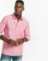 Express - Slim Long Sleeve Chambray Henley Shirt - Lyst