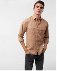Express - Slim Twill Military Shirt - Lyst