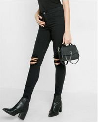 Express   High Waisted Distressed Knee Stretch Jean Leggings   Lyst