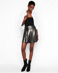 Express - Metallic Flared Mini Skirt - Lyst