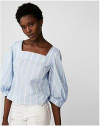 Express - Square Neck Puff Sleeve Blouse - Lyst