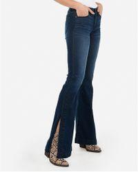 Express Mid Rise Dark Wash Split Bell Flare Jeans,
