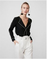 Express - Long Sleeve Piped Blouse - Lyst