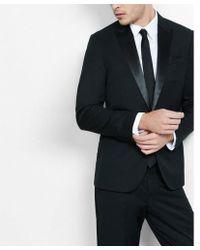 Express - Slim Photographer Satin-button Wool Blend Tuxedo Jacket - Lyst