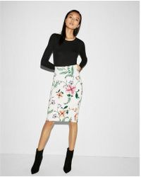 Express - High Waisted Floral Pencil Skirt - Lyst