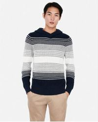 Express - Stripe Cable Knit Hooded Jumper - Lyst