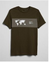 Express - Linear Geography Grid Graphic Tee - Lyst