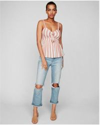 Express - Knot Front Smocked Babydoll Tank - Lyst