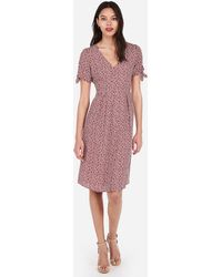 Express - Printed Button Front Flutter Sleeve Midi Dress Print - Lyst