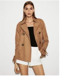 Express - Double Breasted Trench Coat - Lyst