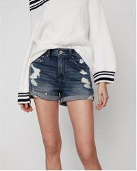 Express - High Waisted Relaxed Distressed Stretch+ Denim Shorts - Lyst