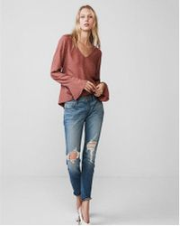 cbb70e4f59 Lyst - Express Deep V-neck Puff Sleeve Blouse in Pink
