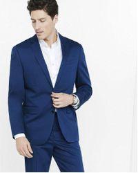 Express - Modern Producer Blue Cotton Sateen Suit Jacket - Lyst