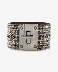 Express | Rhinestone Chain Turnlock Cuff Bracelet | Lyst