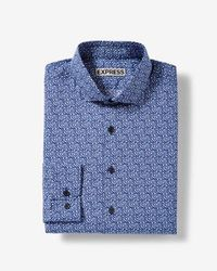 Express - Fitted Floral Vine Cotton Dress Shirt - Lyst
