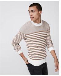 Express - Striped Crew Neck Sweater - Lyst