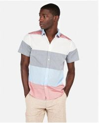 Express - Slim Stripe Short Sleeve Shirt - Lyst