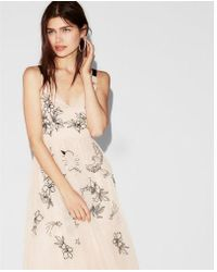 Express - Floral Embellished Fit And Flare Dress - Lyst