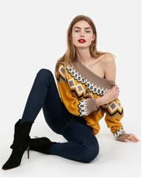 Express - Southwest Off The Shoulder Sweater - Lyst