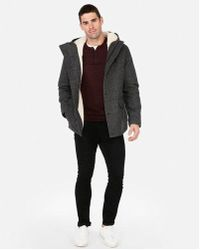 Express - Textured Sherpa Water-resistant Recycled Wool Parka - Lyst