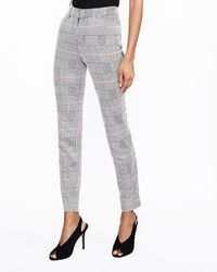 Express - Mid Rise Houndstooth Plaid Skinny Pant Black And White - Lyst