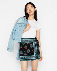 Express - Tie Front Wrap Mini Skirt - Lyst