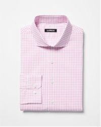 Express - Slim Check Pattern Spread Collar Dress Shirt - Lyst