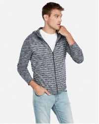 Express - Striped Full Zip Hooded Sweater - Lyst