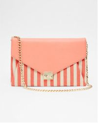 Express - Convertible Striped Canvas Clutch - Lyst