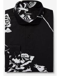 Express - Extra Slim Magnified Floral Print Cotton Dress Shirt Black - Lyst
