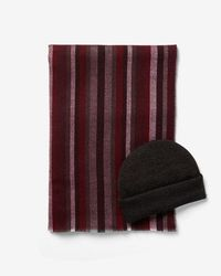 Express - Stripe Scarf And Beanie Gift Set - Lyst