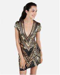 Express - Sequin Cap Sleeve Deep V-neck Mini Dress - Lyst