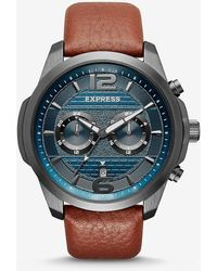Express Pebbled Leather Multi-function Watch - Brown