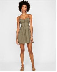 Express - Silky Soft Twill Side Lace-up Fit And Flare Dress - Lyst